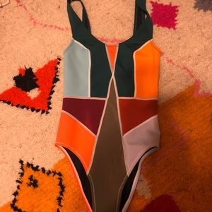 Rowley color blocked one piece swimsuit size S